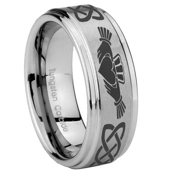 8mm Irish Claddagh Step Edges Brushed Tungsten Carbide Men's Engagement Band