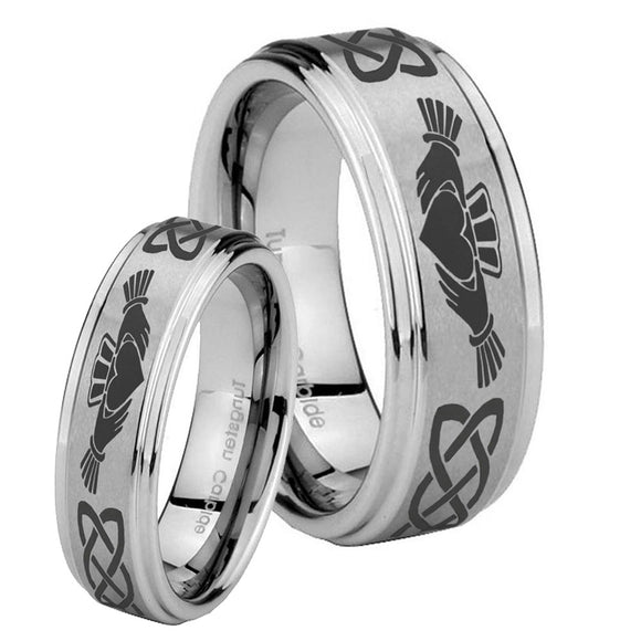 His Hers Irish Claddagh Step Edges Brushed Tungsten Mens Engagement Band Set