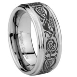 8mm Celtic Knot Dragon Step Edges Brushed Tungsten Men's Engagement Band