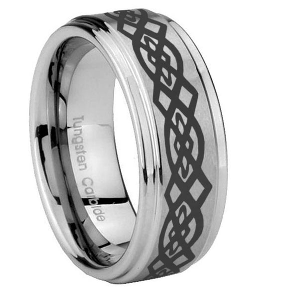 8mm Celtic Knot Step Edges Brushed Tungsten Carbide Men's Engagement Ring