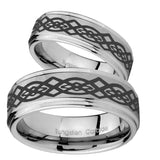 Bride and Groom Celtic Knot Step Edges Brushed Tungsten Mens Promise Ring Set