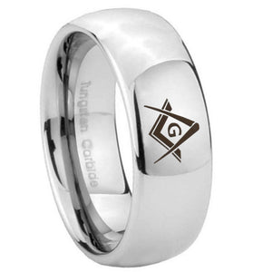 8mm Freemason Masonic Mirror Dome Tungsten Carbide Mens Ring Engraved