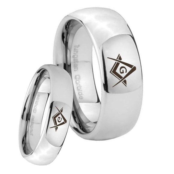 Bride and Groom Freemason Masonic Mirror Dome Tungsten Carbide Bands Ring Set