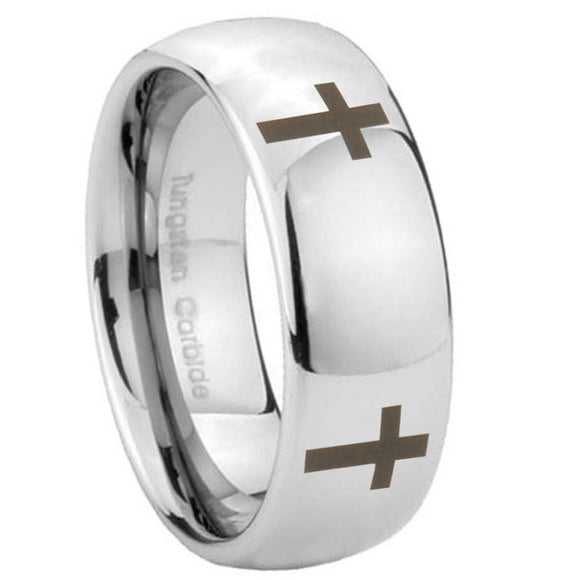 10mm Crosses Mirror Dome Tungsten Carbide Wedding Engagement Ring