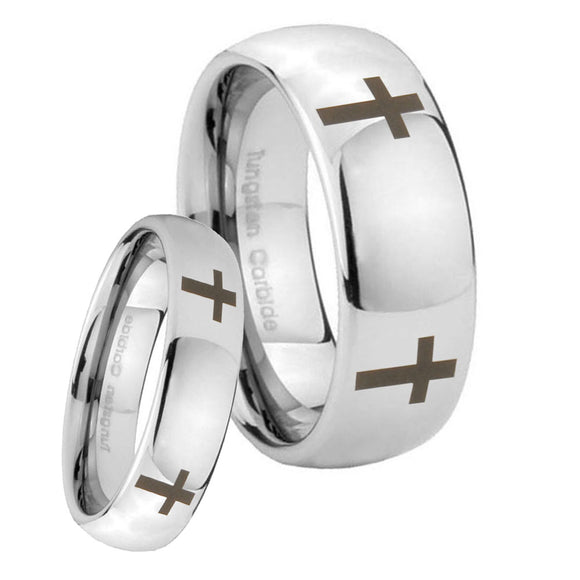 Bride and Groom Crosses Mirror Dome Tungsten Carbide Custom Mens Ring Set
