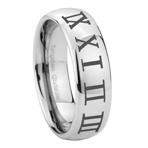 8mm Roman Numeral Mirror Dome Tungsten Carbide Anniversary Ring