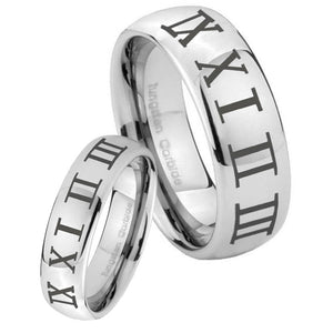 Bride and Groom Roman Numeral Mirror Dome Tungsten Men's Promise Rings Set