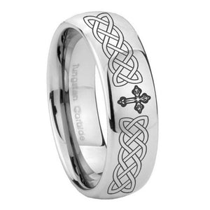10mm Celtic Cross Mirror Dome Tungsten Carbide Men's Engagement Ring