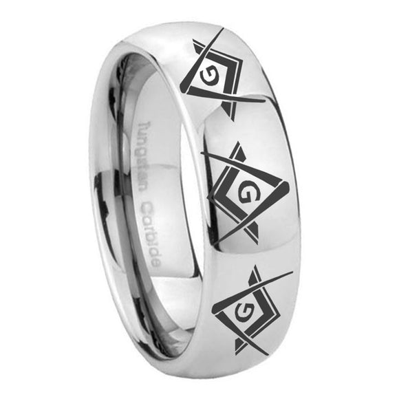10mm Master Mason Masonic  Mirror Dome Tungsten Carbide Men's Ring