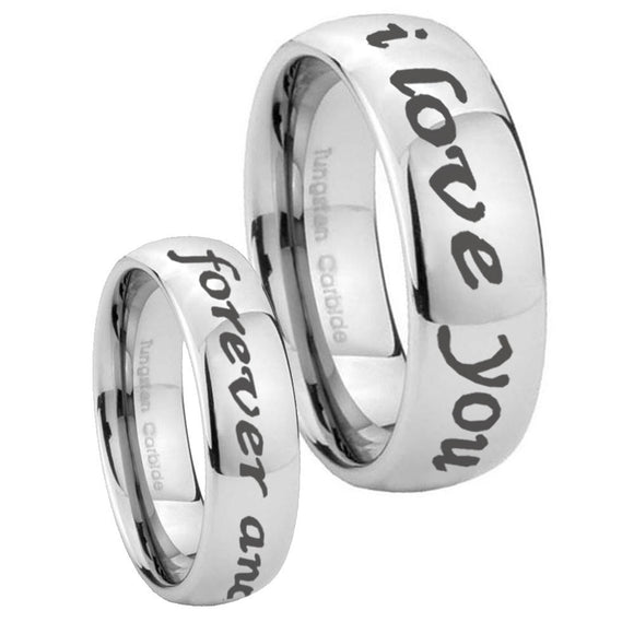 8mm I Love You Forever and ever Mirror Dome Tungsten Carbide Mens Bands Ring