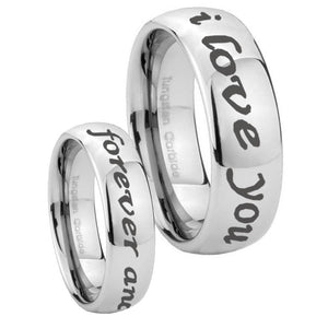 10mm I Love You Forever and ever Mirror Dome Tungsten Mens Ring Personalized