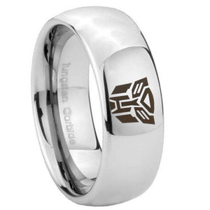 10mm Transformers Autobot Mirror Dome Tungsten Carbide Rings for Men