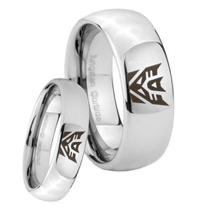 His Hers Decepticon Transformers Mirror Dome Tungsten Custom Mens Ring Set