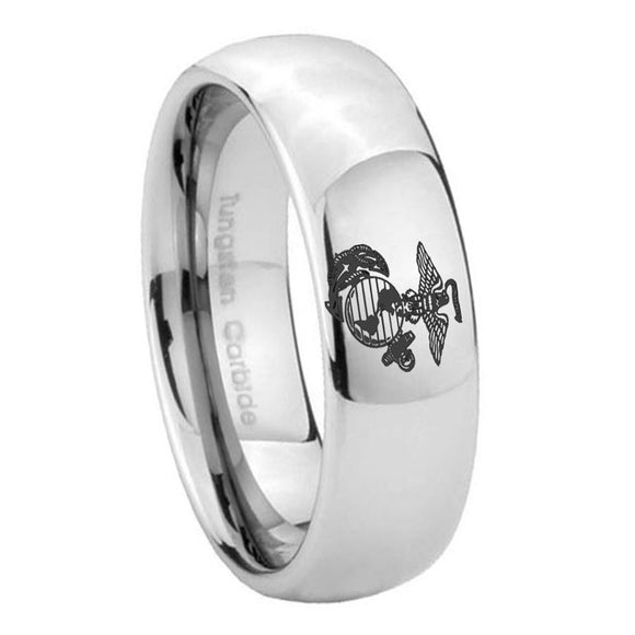 8mm Marine Mirror Dome Tungsten Carbide Wedding Engraving Ring