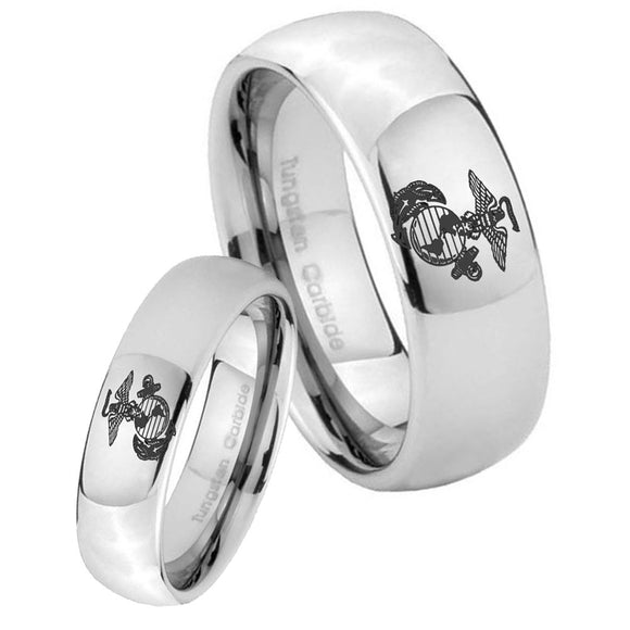 Bride and Groom Marine Mirror Dome Tungsten Carbide Mens Promise Ring Set