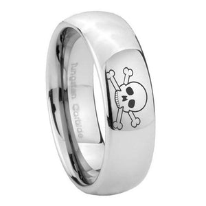 10mm Skull Mirror Dome Tungsten Carbide Men's Engagement Band