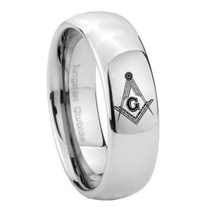 8mm Master Mason Masonic Mirror Dome Tungsten Carbide Mens Promise Ring
