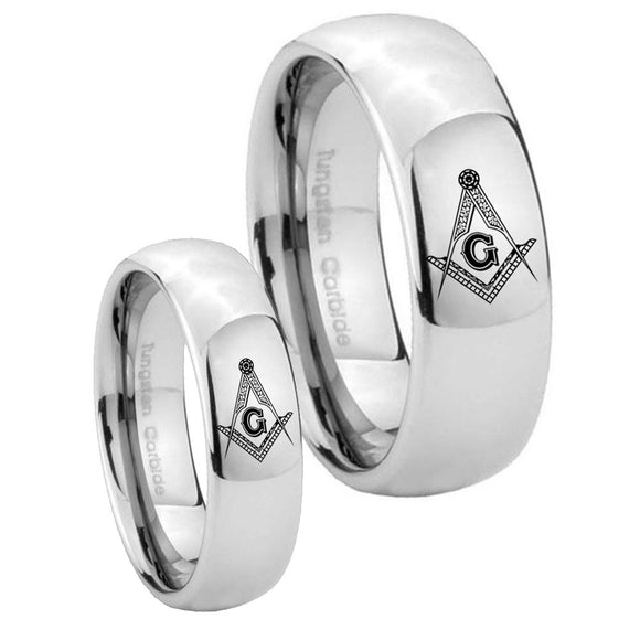 His Hers Master Mason Masonic Mirror Dome Tungsten Wedding Bands Ring Set