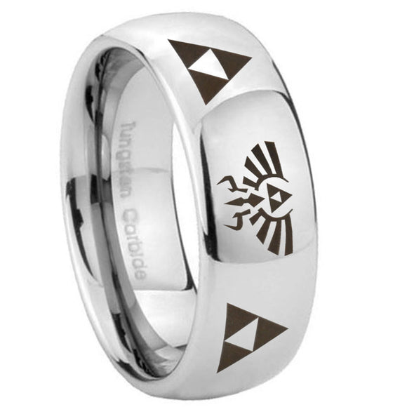 10mm Legend of Zelda Mirror Dome Tungsten Carbide Wedding Band Ring