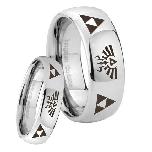 Bride and Groom Legend of Zelda Mirror Dome Tungsten Anniversary Ring Set