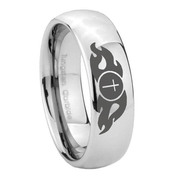 8mm Flamed Cross Mirror Dome Tungsten Carbide Men's Bands Ring