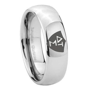 10mm Greek CTR Mirror Dome Tungsten Carbide Men's Wedding Band