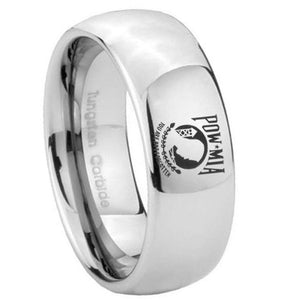 8mm Military Pow Mirror Dome Tungsten Carbide Mens Wedding Ring