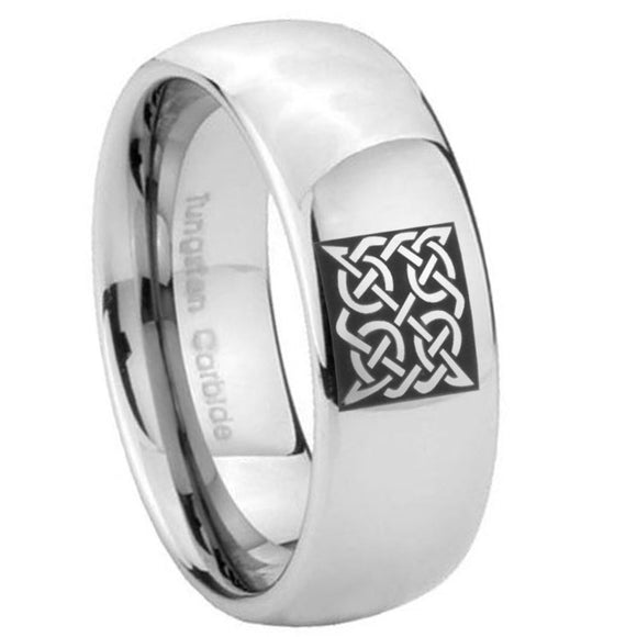 10mm Celtic Design Mirror Dome Tungsten Carbide Mens Engagement Band