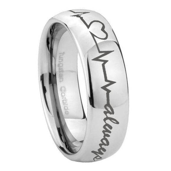 8mm Heart Beat forever Heart always Mirror Dome Tungsten Wedding Band Ring
