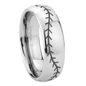 10mm Baseball Stitch Mirror Dome Tungsten Carbide Mens Bands Ring