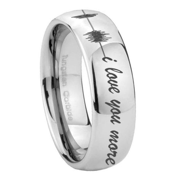 8mm Sound Wave, I love you more Mirror Dome Tungsten Custom Ring for Men