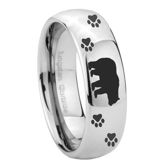 10mm Bear and Paw Mirror Dome Tungsten Carbide Mens Ring Engraved