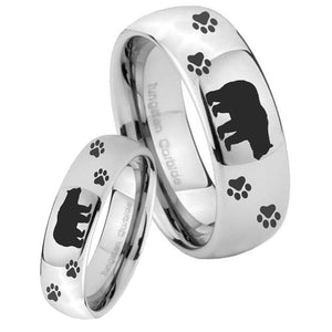 Bride and Groom Bear and Paw Mirror Dome Tungsten Carbide Personalized Ring Set