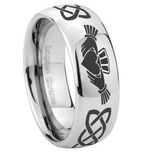 10mm Irish Claddagh Mirror Dome Tungsten Carbide Mens Wedding Band