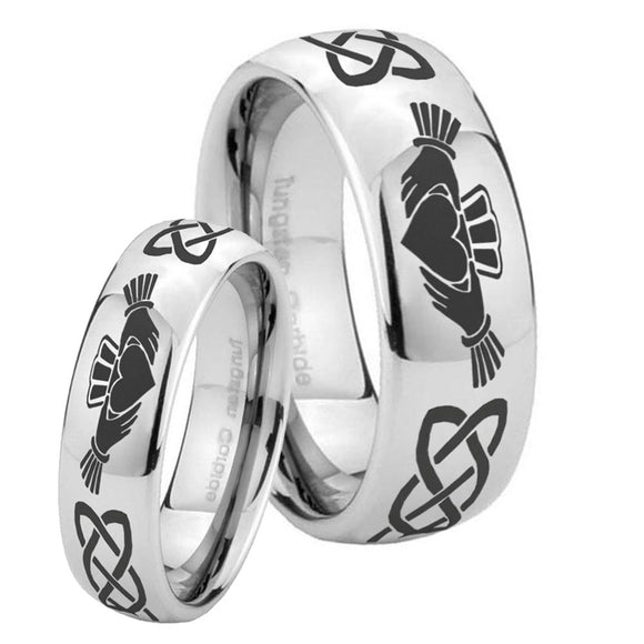 Bride and Groom Irish Claddagh Mirror Dome Tungsten Carbide Personalized Ring Set