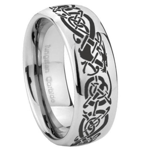 8mm Celtic Knot Dragon Mirror Dome Tungsten Carbide Men's Bands Ring