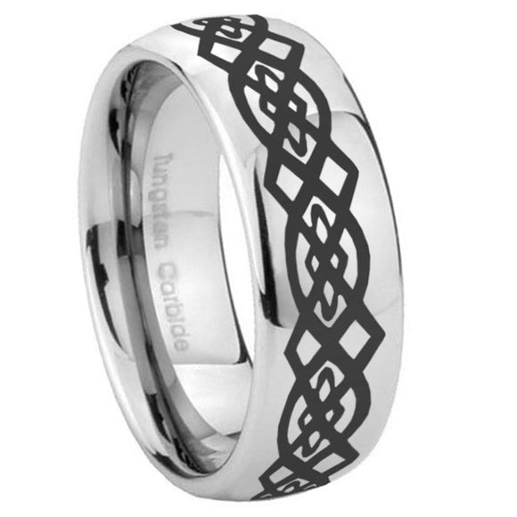 10mm Celtic Knot Mirror Dome Tungsten Carbide Wedding Engagement Ring