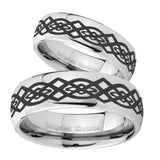 Bride and Groom Celtic Knot Mirror Dome Tungsten Mens Engagement Ring Set