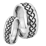 His and Hers Laser Celtic Knot Mirror Dome Tungsten Mens Ring Personalized Set