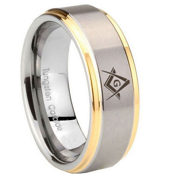 8mm Freemason Masonic Step Edges Gold 2 Tone Tungsten Carbide Mens Ring