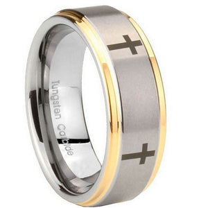 8mm Crosses Step Edges Gold 2 Tone Tungsten Carbide Men's Ring