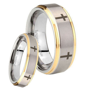 Bride and Groom Crosses Step Edges Gold 2 Tone Tungsten Mens Promise Ring Set