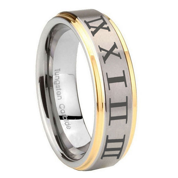 8mm Roman Numeral Step Edges Gold 2 Tone Tungsten Wedding Engagement Ring