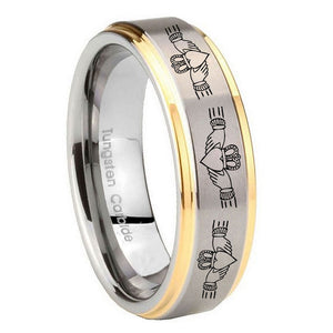 10mm Irish Claddagh Step Edges Gold 2 Tone Tungsten Wedding Engagement Ring
