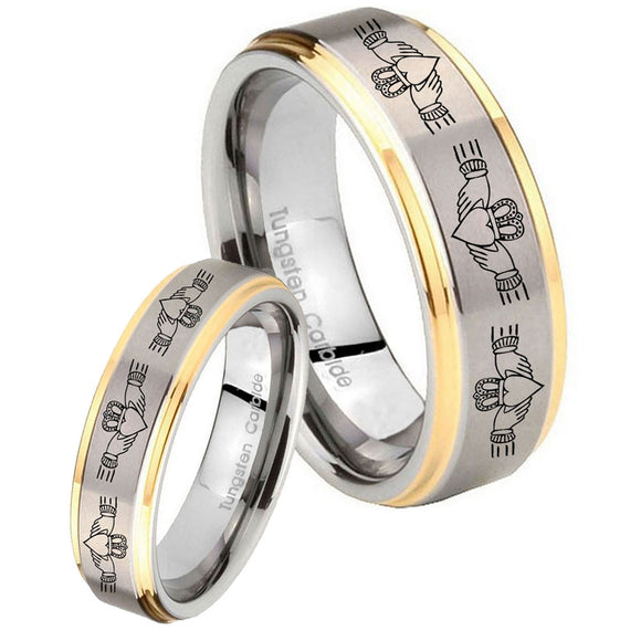 His Hers Irish Claddagh Step Edges Gold 2 Tone Tungsten Wedding Band Ring Set