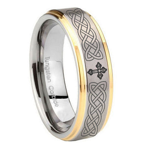 10mm Celtic Cross Step Edges Gold 2 Tone Tungsten Wedding Engraving Ring