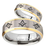 His Hers Master Mason Masonic  Step Edges Gold 2 Tone Tungsten Bands Ring Set