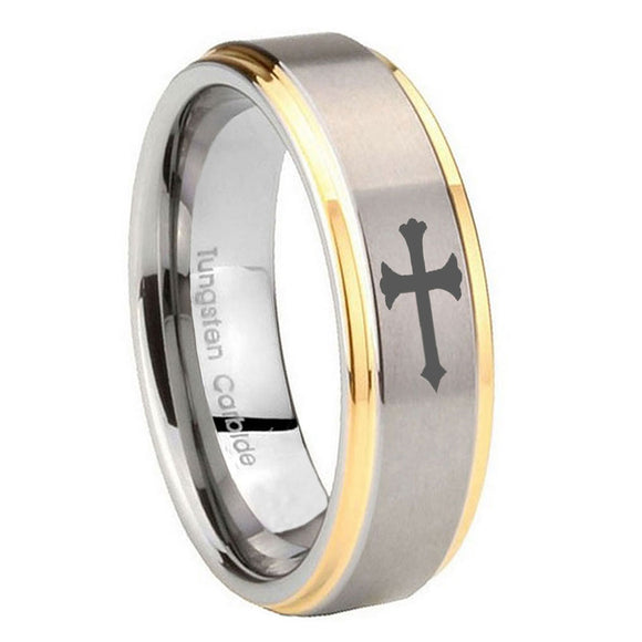 8mm Christian Cross Step Edges Gold 2 Tone Tungsten Carbide Engraved Ring