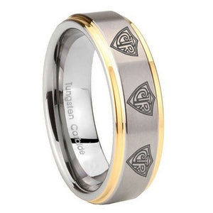 10mm Multiple CTR Step Edges Gold 2 Tone Tungsten Carbide Men's Band Ring