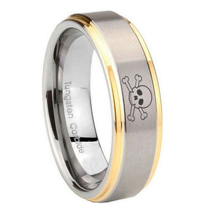 8mm Skull Step Edges Gold 2 Tone Tungsten Carbide Men's Wedding Ring